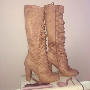 Suede like blush lace up boots
